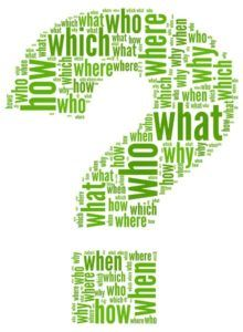 Questions concept in question mark of word tag cloud